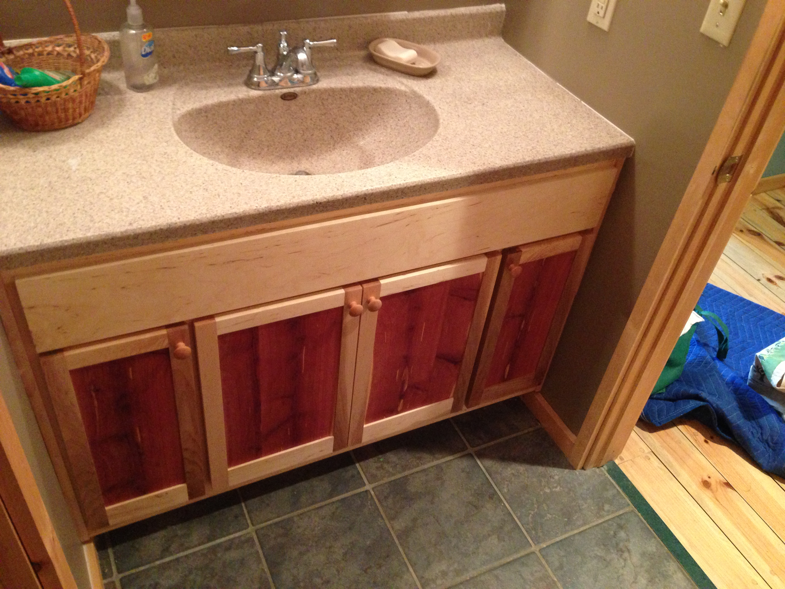 cabin bath cabinet Red cedar and soft maple bathroom vanity. Cabinets   mplswoodworkers